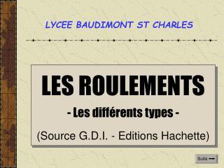 LES ROULEMENTS - Les différents types - (Source G.D.I. - Editions Hachette)