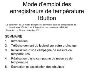 Mode d'emploi des enregistreurs de température IButton