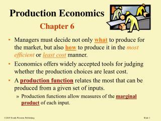 Production Economics Chapter 6