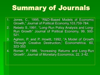 Summary of Journals