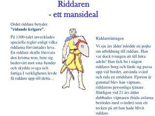 Riddaren - ett mansideal