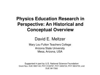 Physics Education Research in Perspective: An Historical and Conceptual Overview