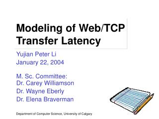 Modeling of Web/TCP Transfer Latency