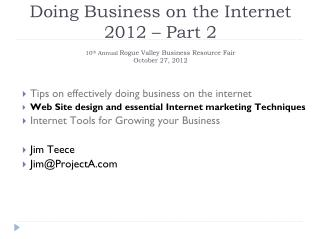 Tips on effectively doing business on the internet