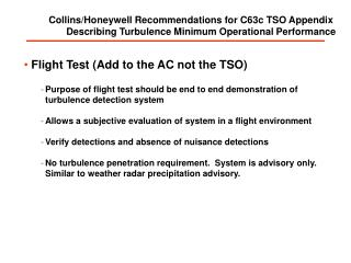 Collins/Honeywell Recommendations for C63c TSO Appendix