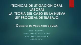Sede: Lima Norte. Leonor   Eugenia Ayala Flores . Magistrado juez superior Agosto  2014.