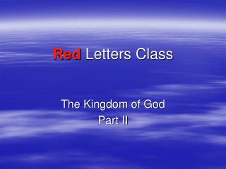 Red Letters Class