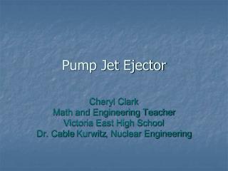 Pump Jet  Ejector
