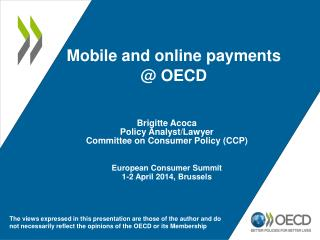 Mobile and online payments @ OECD