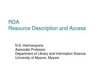 RDA Resource Description and Access