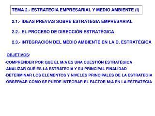 TEMA 2.- ESTRATEGIA EMPRESARIAL Y MEDIO AMBIENTE (I)