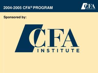 2004-2005 CFA  Program