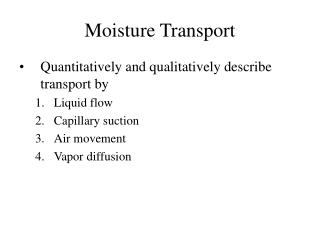 Moisture Transport