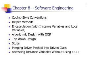 Chapter 8 – Software Engineering