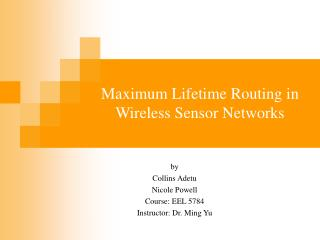 Maximum Lifetime Routing in Wireless Sensor Networks