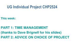 UG Individual Project CHP2524