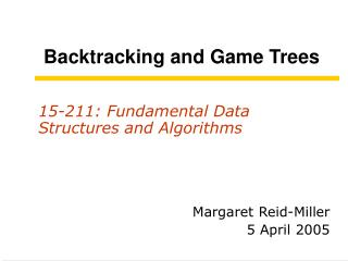 Backtracking and Game Trees