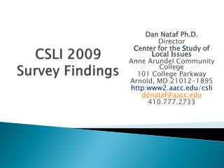CSLI 2009  Survey Findings