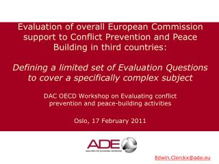 DAC OECD Workshop on  Evaluating conflict prevention and peace-building activities