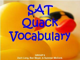 SAT  Quack  Vocabulary