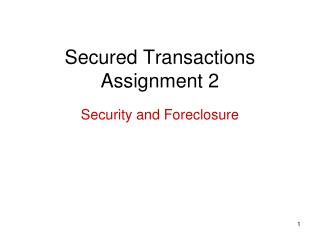 Secured Transactions Assignment 2