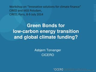 Green Bonds for low-carbon energy transition and global climate funding?