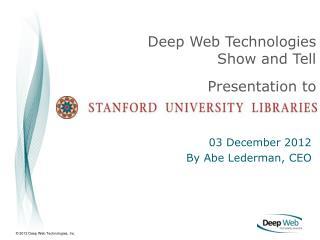 03 December 2012 By Abe Lederman, CEO