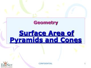 Geometry Surface Area of Pyramids and Cones