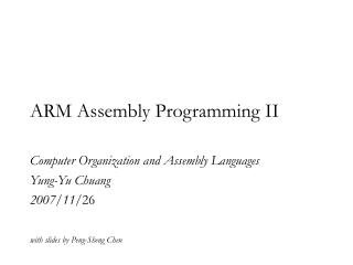 ARM Assembly Programming II