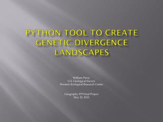 Python Tool to create genetic Divergence landscapes