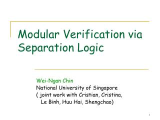 Modular Verification via Separation Logic