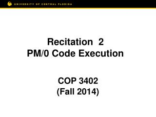 Recitation  2 PM/0  Code Execution