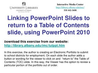 Linking PowerPoint Slides to return to a Table of Contents slide, using PowerPoint  2010