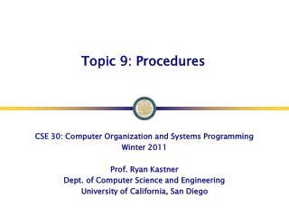 Topic 9: Procedures