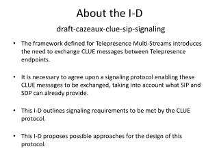 About the I-D draft-cazeaux-clue-sip-signaling