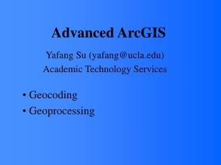 Advanced ArcGIS