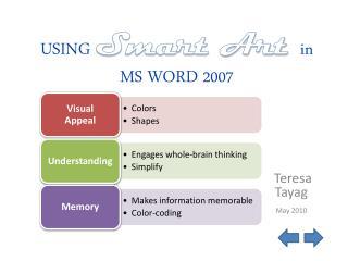 USING Smart Art  in  MS  WORD  2007