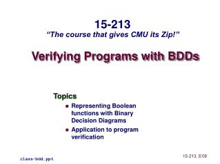 Verifying Programs with BDDs