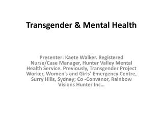 Transgender & Mental  Health