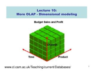 Lecture 10: More OLAP -  Dimensional modeling