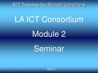 ICT Training for School Librarians