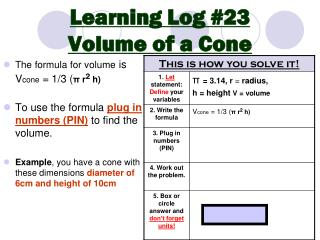 Learning Log #23 Volume of a Cone