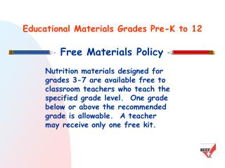 Educational Materials Grades Pre-K to 12