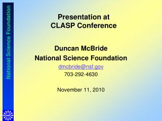 Presentation at  CLASP Conference