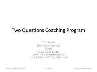 Two Questions Coaching Program