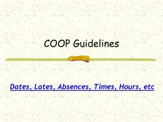 COOP Guidelines