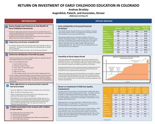 RETURN ON INVESTMENT OF EARLY CHILDHOOD EDUCATION IN COLORADO Andrew Brodsky