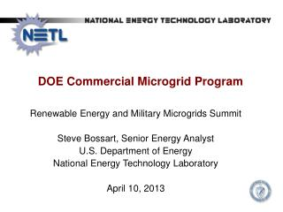 DOE Commercial  Microgrid  Program