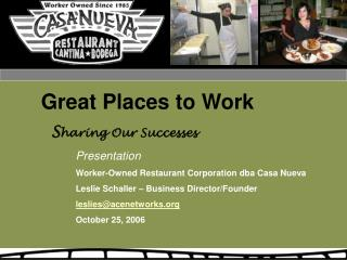 Great Places to Work   S haring Our Successes Presentation