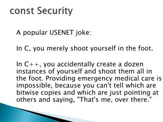 const  Security